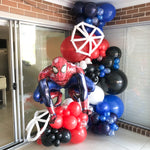 Tomi's 5th Spiderman Birthday Party Organic Style Balloon Garland
