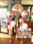Rose Gold Confetti & Orbz Helium Balloon arrangement