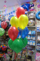 Birthday Star Bubble and 9 helium balloon bouquet