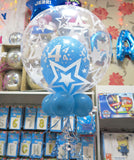 4th birthday double deco and 9 helium balloon bouquet