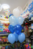 Baby Boy bubble balloon and 9 helium balloon  bouquet