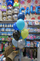 Construction Birthday foil and 9 helium Balloon Bouquet