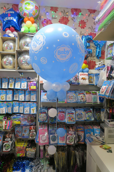 2 x 3ft Round Jumbo Baby Shower balloon arrangement