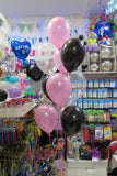 Birthday Bubble and 9  helium balloons bouquet
