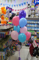 Birthday Star Burst  Bubble and 9 helium balloon bouquet
