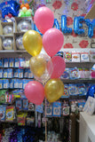 Orbz Gold with 9 latex helium balloon bouquet