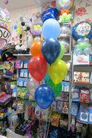 Car bubble and 9 helium balloon bouquet