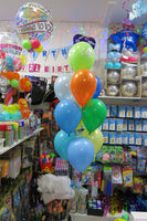 60th  Bubble and 9 helium Balloon bouquet