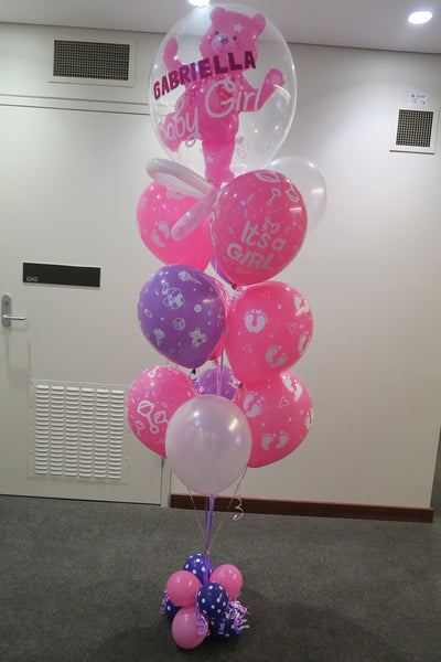Baby Girl with Name balloons bouquet