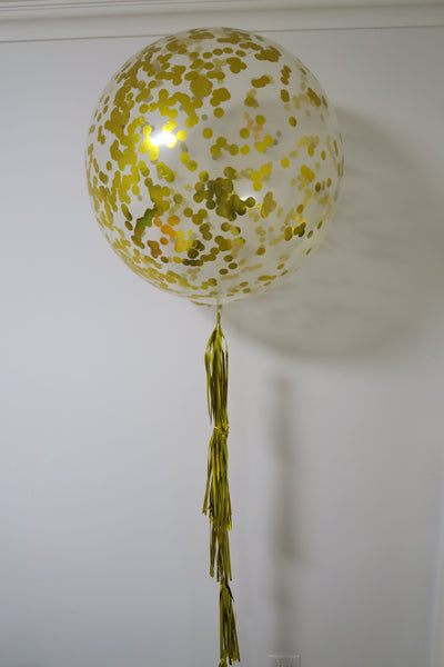 3ft clear gold confetti balloon with full tassel