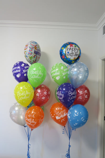 Happy Birthday foil helium balloon bouquet