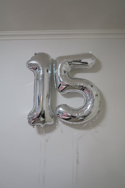 15th  birthday  foil shape helium balloon arrangement