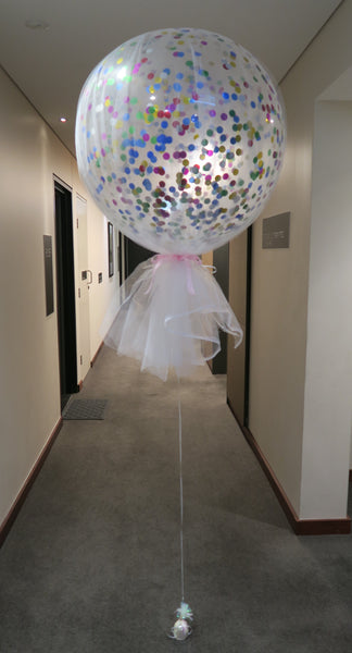 Tulle 3Ft round clear confetti balloon