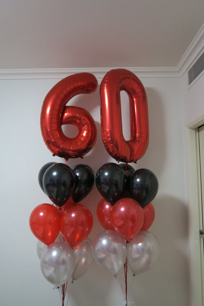 60th  birthday  foil shape helium balloon arrangement