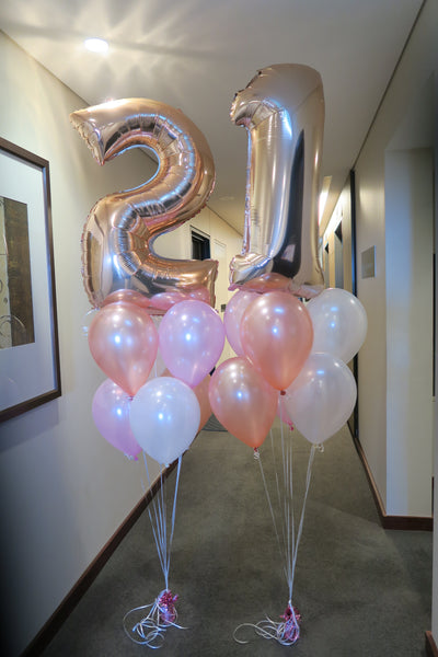 21st  birthday RoseGold foil shape helium balloon arrangement