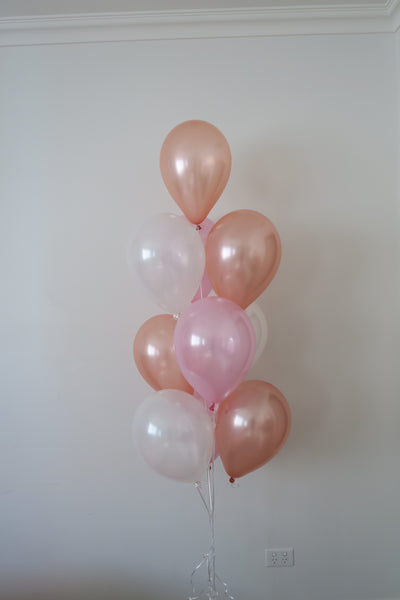 Rosegold,white,pink helium balloon floor arrangement