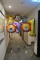 1st jungle animal birthday balloon arrangement