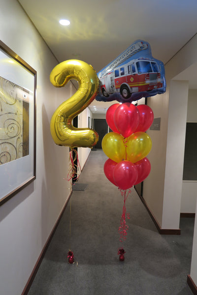 2nd birthday fire truck helium balloon  bouquet