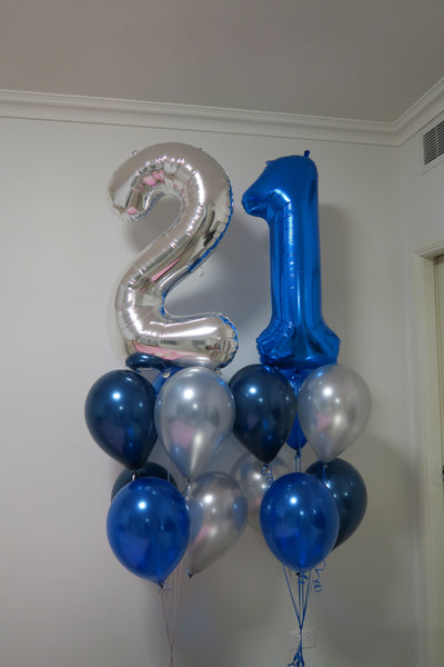 21st  birthday foil shape helium balloon arrangement