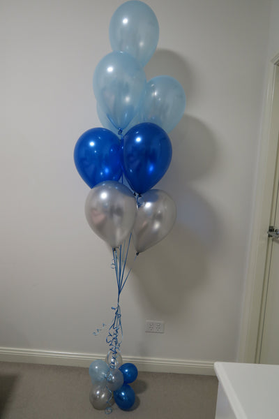 Royal blue, Blue and  Silver helium balloon floor arrangement