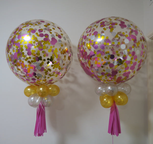 2 of 3ft clear gold, silver and pink confetti balloon