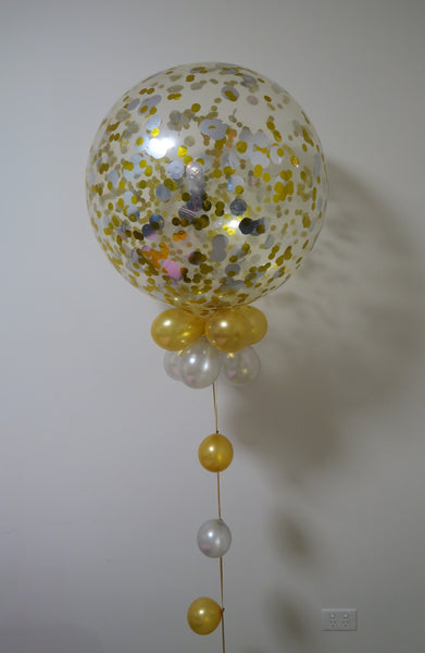 3ft clear gold, silver  confetti balloon