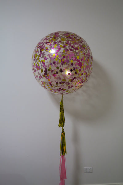 3ft clear gold, magenta and pink  confetti balloon