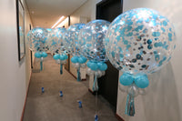5 of 3ft clear blue and silver  confetti balloon