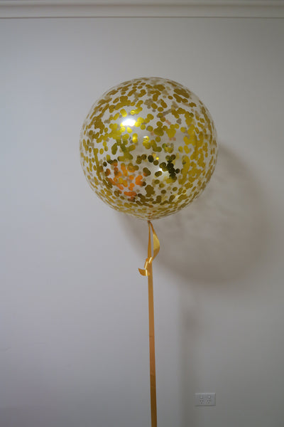 3ft clear gold  confetti balloon