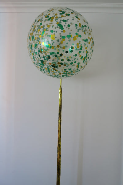 3ft clear green and gold  confetti balloon