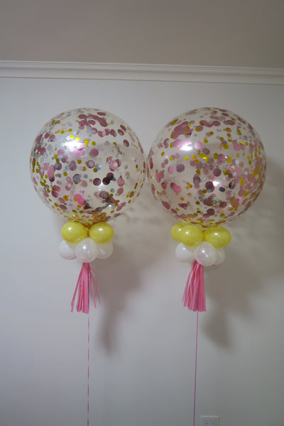 2 of 3ft clear pink, gold and silver  confetti balloon