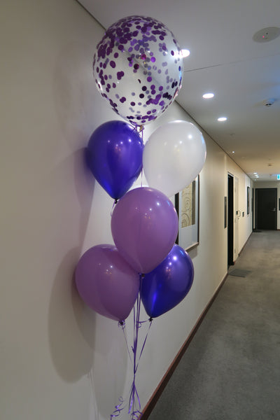 Purple confetti helium balloon Floor Bouquet