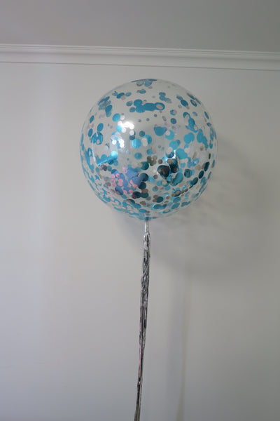 3ft clear aqua blue and silver confetti balloon