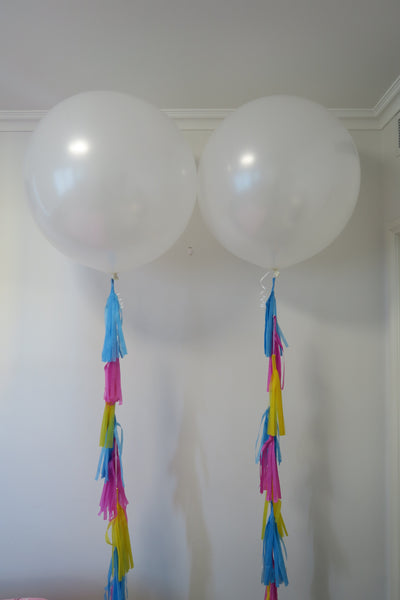 2 of 3ft white round balloon and tassel