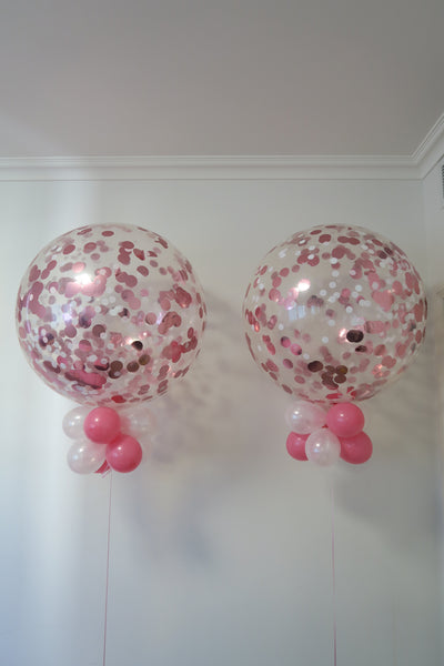 2 of 3ft pink and white confetti balloon arrangement