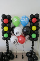 5th racing car birthday helium bouquet