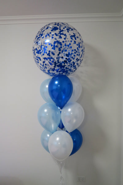 3ft blue confetti helium balloon bouquet
