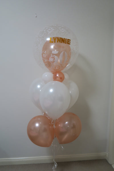 50th rosegold helium balloon bouquet