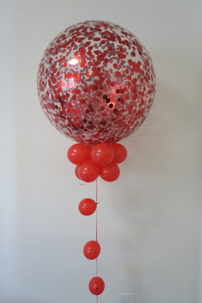 3ft red confetti round balloon