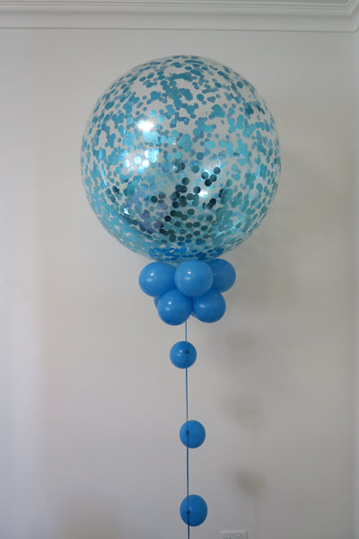 3 x 3ft Aqua Blue confetti round balloon