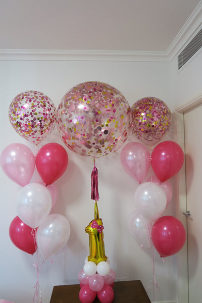 1st birthday helium balloon bouquet