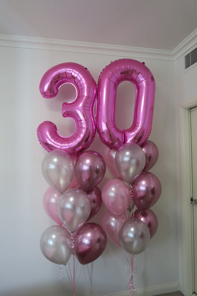 30th birthday helium balloon bouquet