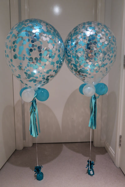 6 x Aqua Blue confetti balloon bouquet