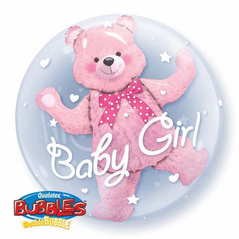 Baby Girl with Teddy Bear Double Bubble and 9 helium bouquets