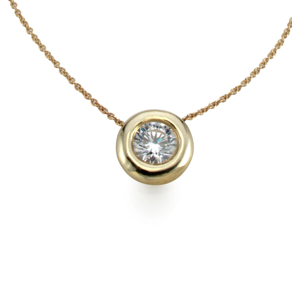 Large Golden Bubble halo Necklace whith white sapphire