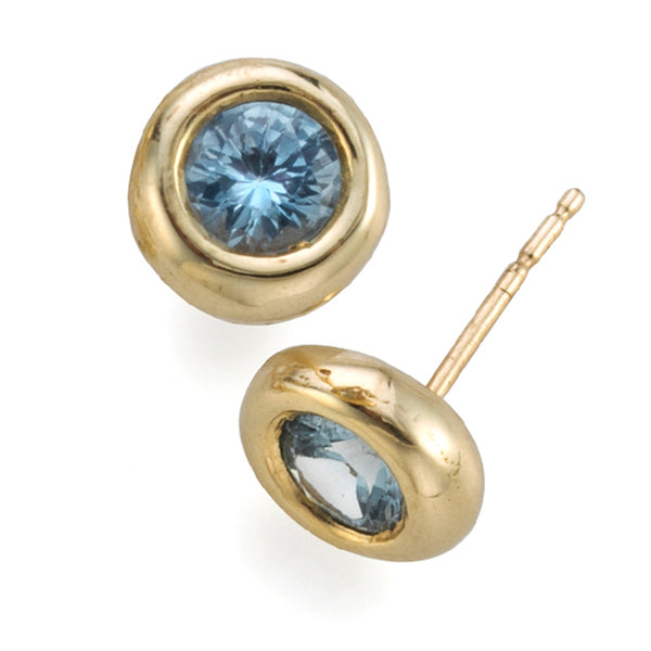 Blue Topaz halo Bubble Earrings