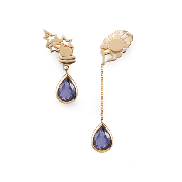 Empyrean balance - Blue Iolite gold asymmetrical earrings