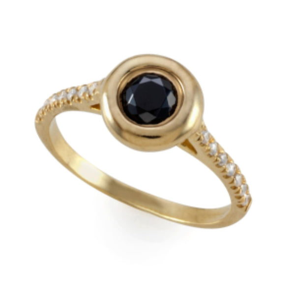 Noble Bubble Ring with Natural Black Diamond
