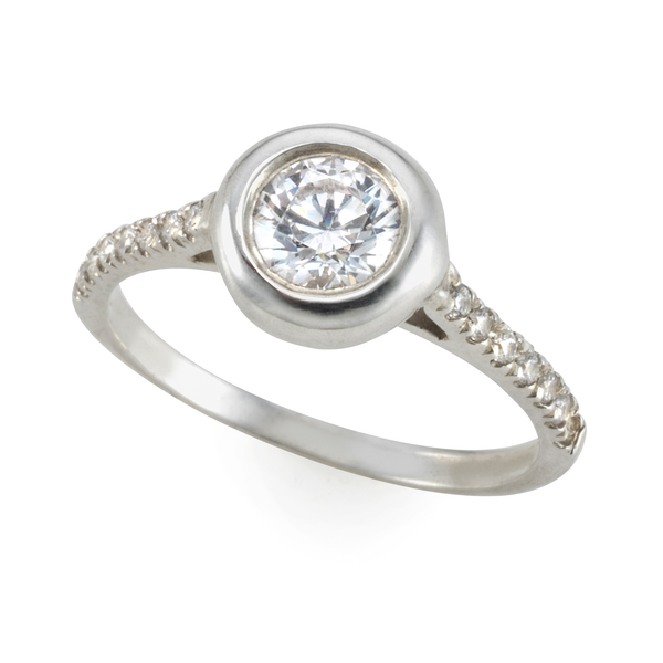 Golden halo Bubble Ring with diamonds and white sapphire