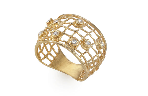 Diamonds Woven gold Ring